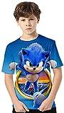 Silver Basic Camiseta de Verano de Manga Corta de Tamaño Infantil Sonic The Hedgehog Camisetas para Niños Videojuego Sonic The Hedgehog Gifts Top Estampado en 3D 130,755Círculo Sonic-2