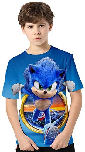 Silver Basic Kinder T-Shirt Sonic The Hedgehog Kurzarm Klassische Mode Shirt Trendy Druck Unisex Animation kurzärmeliges Shirt,755Sonic The Hedgehog,140-3