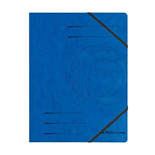 Herlitz Eckspanner A4 Colorspan mit 2 Gummizügen (10er Pack, Blau)