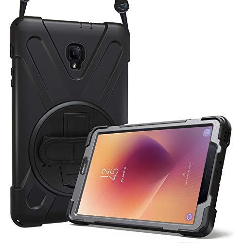 Procase Bumper para Samsung Galaxy Tab A 8.0 2017 T380 T385, Carcasa Rugosa con Soporte Rotativo/Asa de Mano/Correa de Hombro, Funda Robusta para Galaxy Tab A Tablet 8 Pulgadas 2017 T380 T385 –Negro