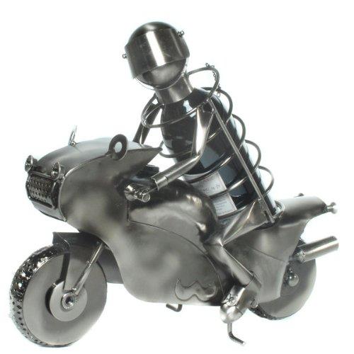Der Weinflaschenhalter als Motorrad/Rennfahrer aus Metall- Das Geschenk für Weinliebhaber oder Bike Liebhaber
