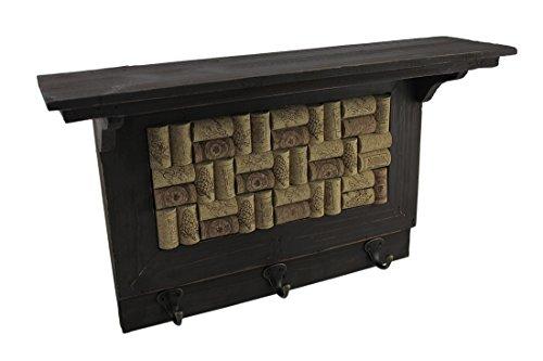 Zeckos Wooden Wine Cork Board Wall Hook Shelf