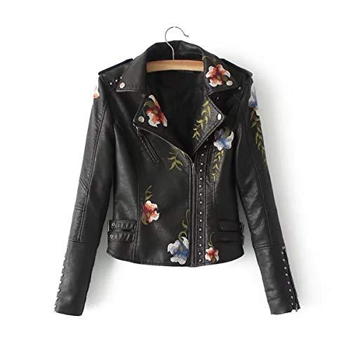 JIER Damen Revers PU Lederjacke Winter Leather Jacket Bikerjacke Kunstlederjacke Übergangsjacke Mantel Kurz Jacke mit Stickerei Outwear Coat (Schwarz,Small)