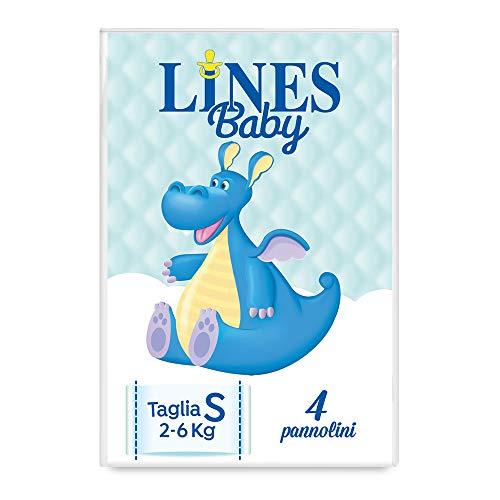 Lines Baby Small, 4 Pannolini, Taglia 1-2 (2-6 Kg), Confezione Prova