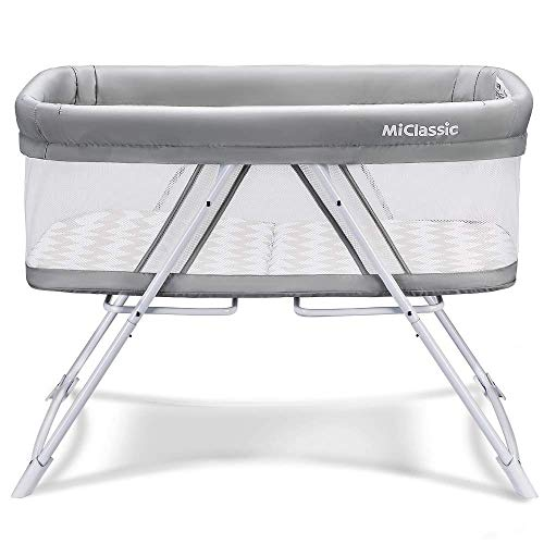 MiClassic All mesh 2in1 StationaryampRock Bassinet OneSecond Fold Travel Crib Portable Newborn Baby Crystal