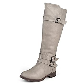 Journee Collection Womens Regular Sized and Wide-Calf Knee-High Buckle Riding Boots Taupe 8 Regular US