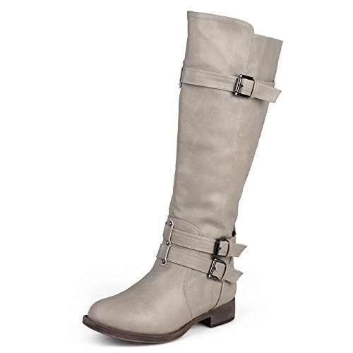 Journee Collection Womens Regular Sized and Wide-Calf Knee-High Buckle Riding Boots Taupe, 8 Regular US