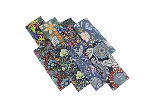 MASS BRILLIANCE 8PCS Cotton Floral Fat Quarters Fabric Bundles, Quilting Fabric for DIY Craft Sewing
