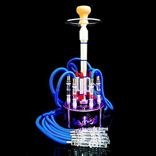 Shisha cachimba Set acrílico cachimba con 6 mangueras Lncluding difusor mágico remoto luz LED cigarrillo para auto uso y hogar fiesta shisha set plata