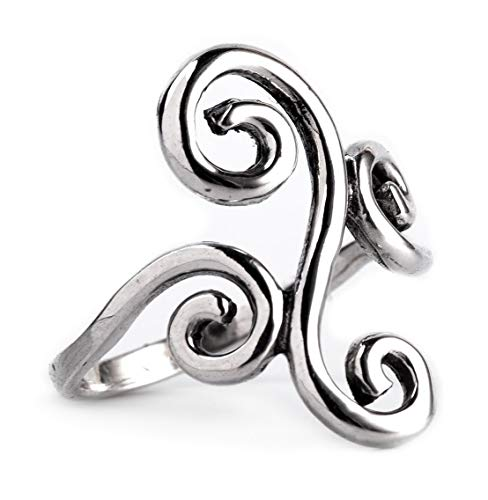 Windalf Fairy Ring ALYA h: 2.2 cm Spirals 925 Sterlingsilber (Silber, 62 (19.7))
