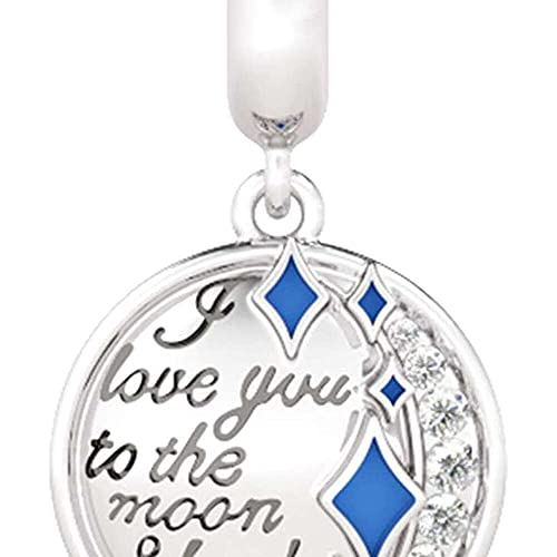 chaosong shop Colgante de plata de ley 'I Love You to the Moon and Back' con piedras y estrellas azules, para todas las pulseras/eca para mujeres y niñas