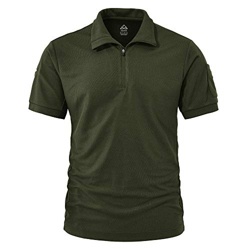 TBMPOY Men's Tactical Short Sleeve Military Hiking Polo Shirt Quick Dry Outdoor Collared Shirt Army Green XL