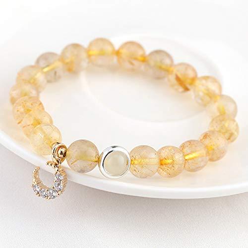 Toltec Lighting Feng Shui Pulsera Lucky Lucky Rutilated Diamond Diamond Moon Bangle Buena Suerte Peach Blossom Amuleto Amuleto Pulsera para Mujer