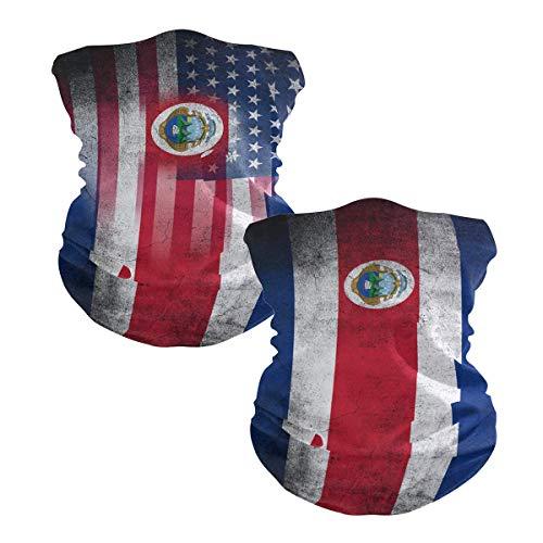 Ningboo 2Pcs USA Costa-Rica Flag Face Scarf Magic Tube Bandanas Headwear Neck Gaiter Balaclava
