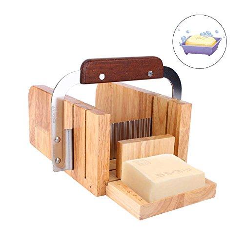 Yosoo Stampi Sapone Legno Handmade Soap Kit Soap Cutter con Strumenti per Taglio Netto o Ondulato Fai da Te
