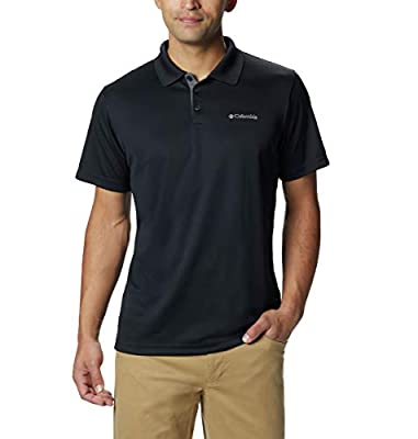 Columbia Men's Utilizer Short Sleeve Wicking Polo with UV Protection, Black, XX-Large