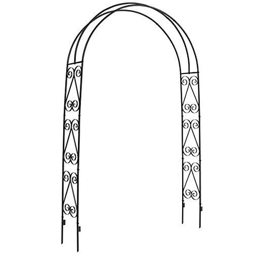 DOEWORKS Garden Arch,Garden Arbor for Various Climbing Plant, Outdoor Garden Lawn Backyard, 3' 11''Wide x 7' High, Black