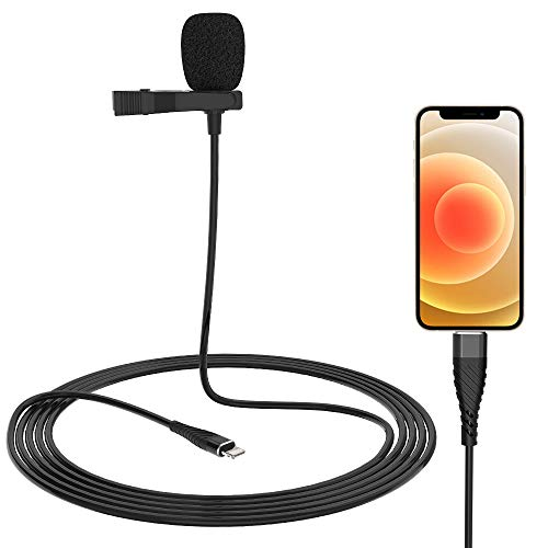 Microphone Professional for iPhone Lavalier Lapel Omnidirectional Condenser Mic Phone Audio Video Recording Easy Clip-on Lavalier Mic for Youtube, Interview, Conference for iPhone/iPad/iPod(9.8ft)