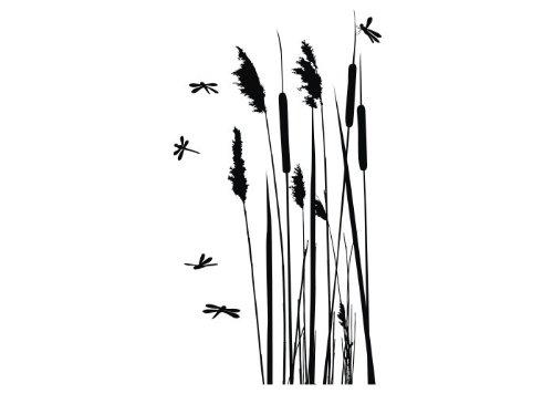 Wandtattooladen Wandtattoo - Schilfrohr mit Libellen Größe:31x55cm Farbe: schwarz