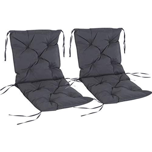 Outsunny 2er Set Auflage für Niederlehner Stuhlauflage Sitzpolster Garten Kissen Grau