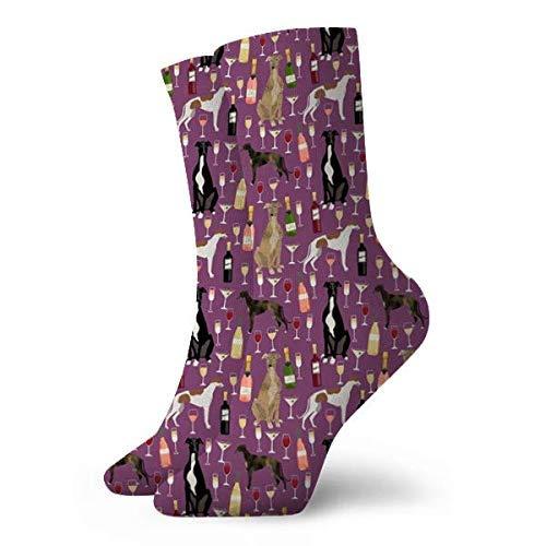 wazi Galgos y vinos perros y vino Bubbly Celebration Amatista para mujer y hombre acolchados calcetines atléticos