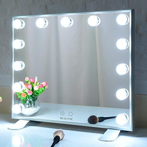 WONSTART Miroir Hollywood Maquillage Eclairé, Table Miroir Lumineux avec Ampoules 13pcs LED, Murale Miroir vanité (Argent,50/42cm)