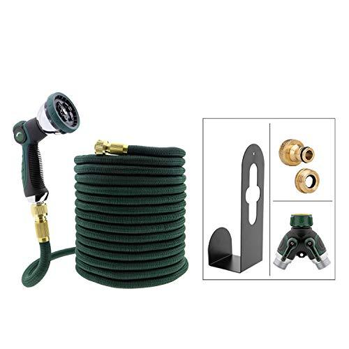 T24 Premium 30m Flexibler Multifunktion Gartenschlauch Set | 2 Wege Verteiler | Metall Halterung | 2 in 1 Messing Adapter
