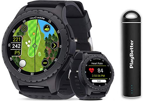 SkyCaddie LX5 GPS Watch Power Bundle | 2020 Model | +PlayBetter Portable Charger | 35,000 Maps, IntelliGreen & Pinpoint Technology | Golf Smartwatch