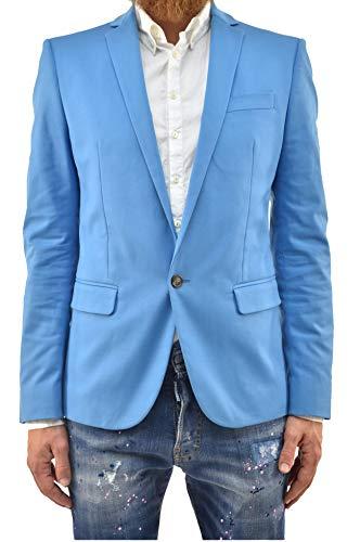 DSQUARED2 Giacca Elegante Uomo Blazer Celeste Cotone Un Bottone Foderata Taglia IT46 (46 IT Uomo)