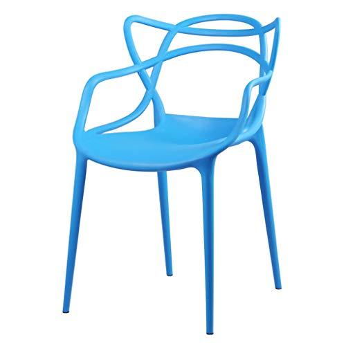LJZslhei Stuhl Rückenlehne Haushalt Kunststoff Stuhl Hocker modernen minimalistischen Esszimmer Stuhl blau