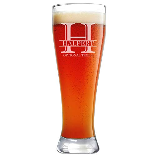 Personalized Etched 23oz Pilsner Beer Glass