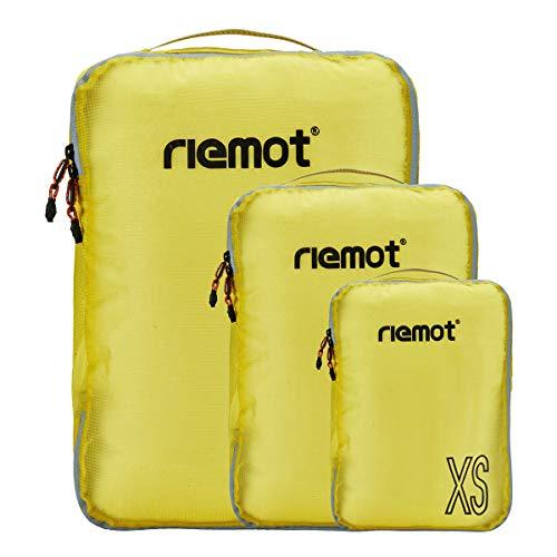 [riemot] トラベルポーチ アレンジケース 3点セット 軽量 衣類収納 スーツケース整理 旅行 出張 イエロー