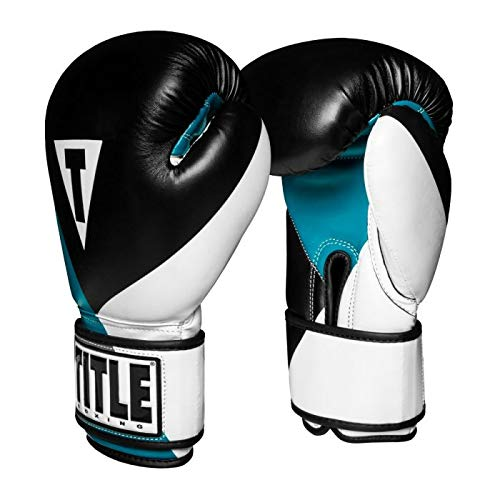 Title Boxing Prime Boxing Gloves, Black/Teal/Grey, 12 oz