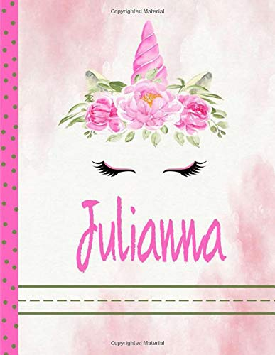 Julianna Unicorn handwriting Notebook Grades K-2: Personalized Unicorn Primary Handwriting Notebook For Girls With Pink Name | Dotted Midline ... School Exercise Book, Composition School E