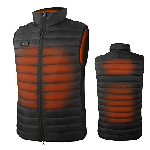 Loowoko Lightweight Men Heated Vest with 10000mAh Battery Pack Rechargeable Heated Jacket for Skiing Fishing Hunting