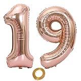 Globos con número 19, número 19, color oro rosa, para niña, globos de 19 cumpleaños, globos de 19 cumpleaños de color oro rosa, número 19, globos grandes, 100 cm