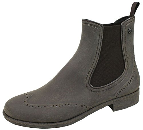 Ultrapower Damen Rubber Boots Brown   Gummistiefel   braune Gummihalbstiefel Frauen Mädchen   Regen Stiefel aus Gummi   Regenstiefel   Leder Look   Gr. 36 / UK 3.5   Braun   Chelsea-B