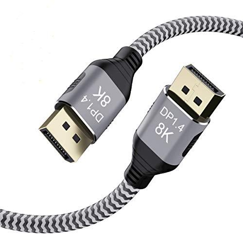 YIWENTEC Cable 3M 9.9FT de cobre DisplayPort Ultra HD 8K 4K DP 1.4 HBR3 8K@60Hz 4K@144Hz de alta velocidad 32.4Gbps HDCP 3D delgado y flexible DP a DP (3M, 8K)