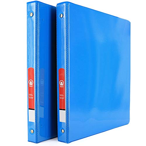 """3-Ring View Binder with 2-Pockets - Available in Cyan - Great for School, Home, & Office 1/2"""" (2-Pack) - by Emraw"""
