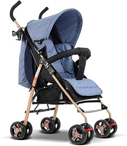 TQJ Cochecito de Bebe Ligero Los cochecitos para bebés Pueden Sentarse acostado la absorción de Impactos Plegable para niños Ultra portátil para bebés niños pequeños niños Altas Carro de Paisaje
