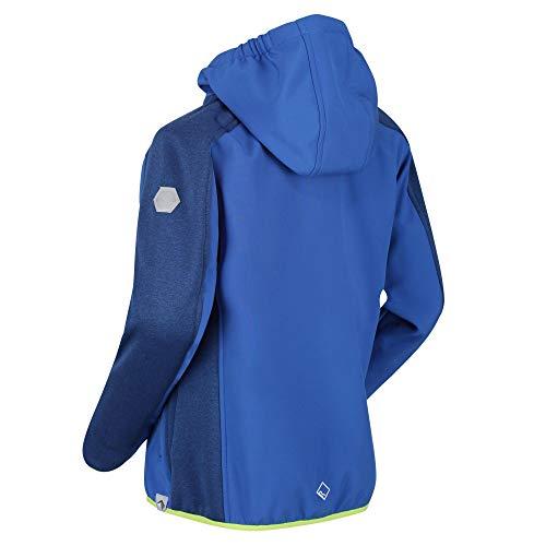 Regatta Veste Softshell Junior Bracknell II avec Envers Chaud, Capuche Fixe et Ouverture zippée intégrale Soft Shell Mixte Enfant, Nautical Blue/Nautical Blue, FR : 5XL (Taille Fabricant : 15-16)