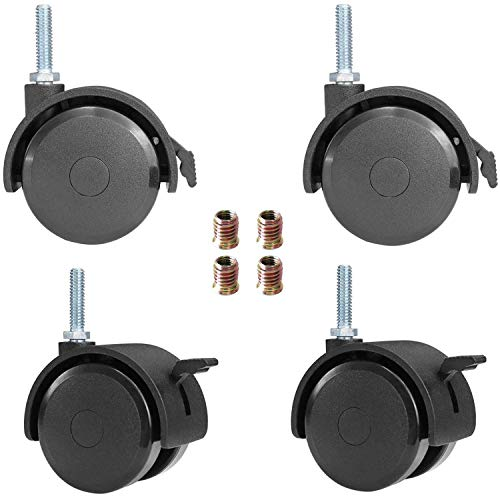 """AAGUT 2"""" Swivel Stem Casters with Locking Brake Threaded 1/4"""" - 20 x 1"""" for Furniture and Shelves, Black Replacement Castors, Pack of 4"""