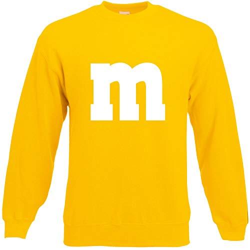 Shirt-Panda Herren Sweatshirt M&M Karneval Gruppen Kostüm Fasching Verkleidung Party Darts Unisex Kinder Gelb M