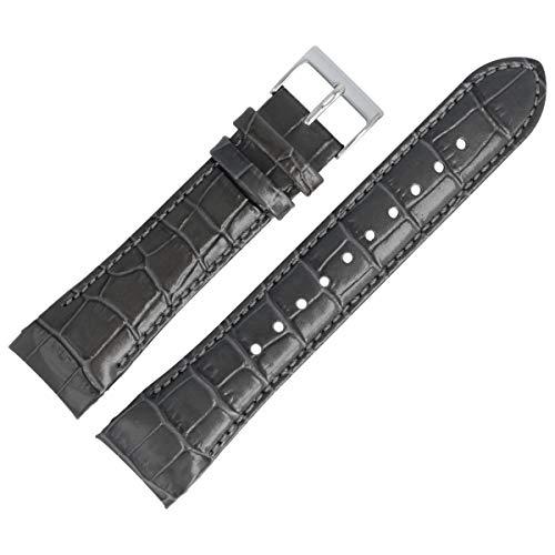 Hugo Boss Uhrenarmband 22mm Leder Grau Kroko - 659302868