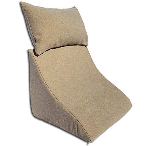 Formalind Lesekissen-Set für Bett und Sofa – Ergonomisch geformtes Keilkissen Plus kuscheliges Sofakissen zum Lesen, Fernsehen und Entspannen (Hellbraun)