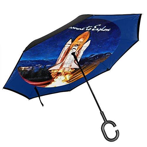 Paraguas invertido de doble capa de la nave espacial, plegable al revés del coche, manos en forma de C, ligero y resistente al viento y Ndash