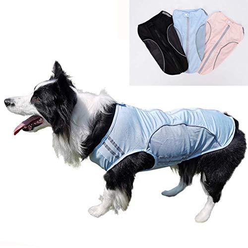 HSART Camiseta De Ropa para Mascotas para Perros, Chaleco Transpirable De Malla De Verano, Ropa para Perros Reflectante para Perros, Chaqueta para Mascotas, Adecuada para Todos Los Perros,Azul,L