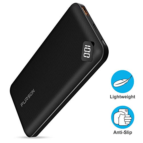 2020 Updated Ultra Compact 10000mAh Fast Charge Power Bank with Dual USB A and USB C Ports, Portable Charger with LED Digital Screen for iPhone, iPad, Samsung, Google Pixel, Nexus and More