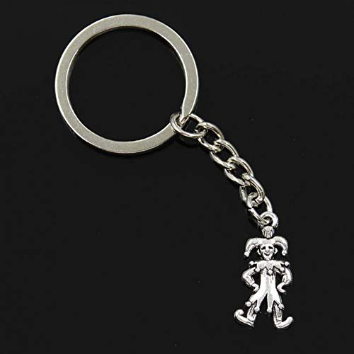 N/ A fashion mannen 30mm sleutelhanger DIY metalen houder ketting vintage clown joker jester 25x12mm zilveren hanger Gift