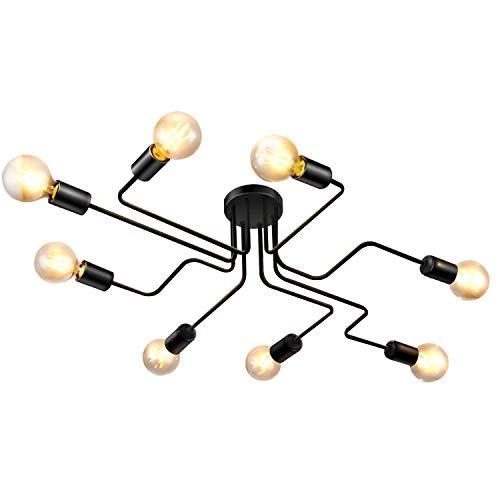 Lightess Lámparas de Techo Lámpara Colgante Iluminación Moderno E27 Portalámparas Sin Bombilla para Salón Comedor Bar Restaurante Cafeteria (negro, 8 interfaces)